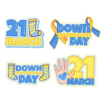 Set di badge per la giornata mondiale della sindrome di down