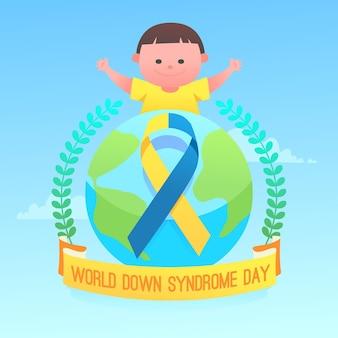Иллюстрация всемирного дня синдрома дауна с ребенком и лентой