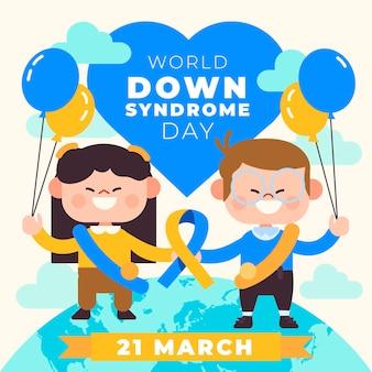 Иллюстрация всемирного дня синдрома дауна с детьми и воздушными шарами