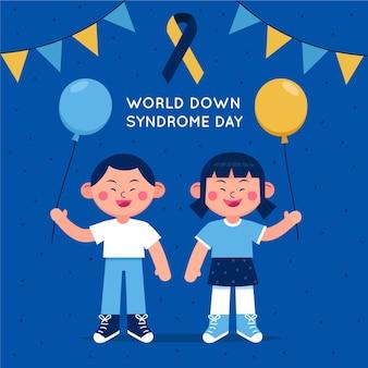 Иллюстрация всемирного дня синдрома дауна с детьми, держащими воздушные шары