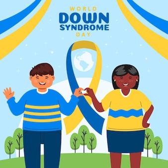 Иллюстрация всемирного дня синдрома дауна с детьми и лентой