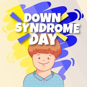 Illustrazione di giornata mondiale della sindrome di down con il ragazzino