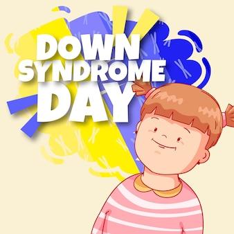 小さな女の子と世界ダウン症の日のイラスト