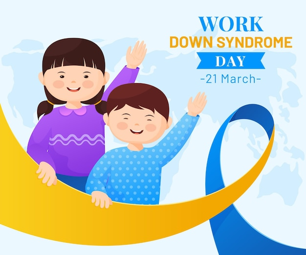 World down syndrome day illustration with little girls waving