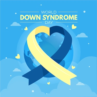 World down syndrome day illustration with ribbon and planet earth