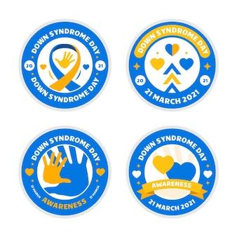 Collezione di etichette per la giornata mondiale della sindrome di down