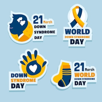 World down syndrome day label set