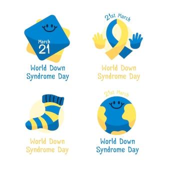 Set di etichette per la giornata mondiale della sindrome di down