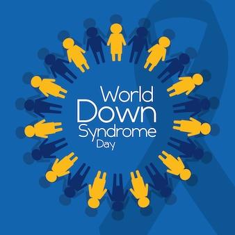 世界のダウン症候群の日の人々のエンブレムポスター