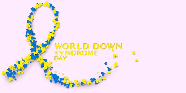 World down syndrome day symbol with ribbon shape and piece of hearts