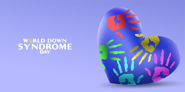 World down syndrome day with heart shape and palm hand paint sign