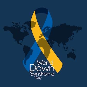 リボンマップの青い背景で世界のダウン症候群の日