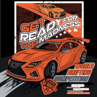 World drift competition, car vector illustration
