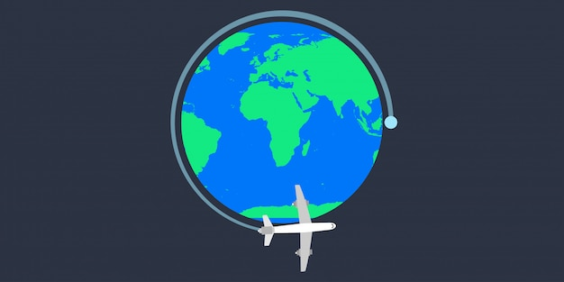 World earth tavel plane vector illustration.