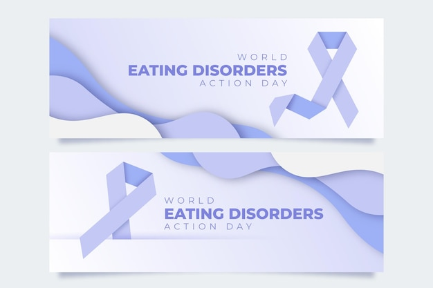 World eating disorders action day banners set in paper style