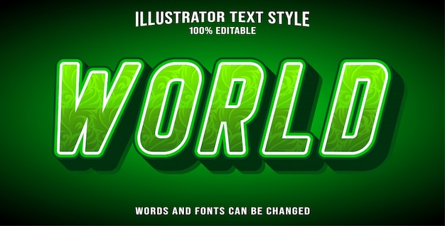 World editable text effect