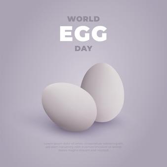 現実的な卵の背景を持つ世界の卵の日のバナー