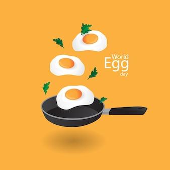 Всемирный день яиц с фоном иллюстрации яиц, 3d и креативной концепцией
