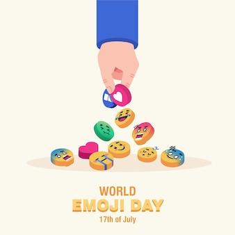 Всемирный день смайликов. рука берет emoji pin концепция плоской иллюстрации