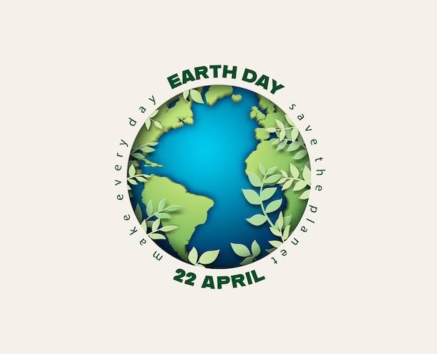 Концепция всемирного дня окружающей среды и земли, вырезка из бумаги, стиль бумажного коллажа с цифровым ремеслом.