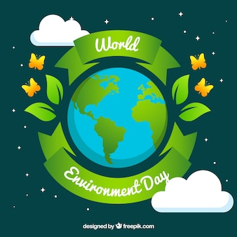 World environment day background with cute butterflies