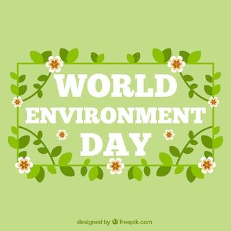 Всемирный день окружающей среды фон с цветами и листьями