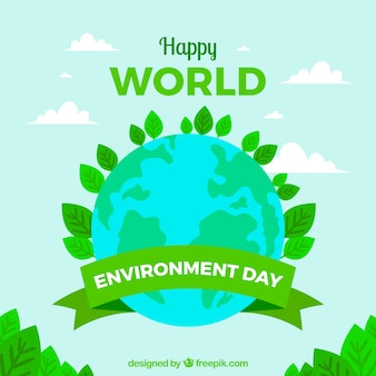 World environment day background with planet earth and leaves