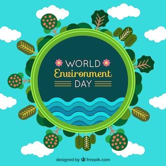 Всемирный день окружающей среды фон с деревьями и облаками