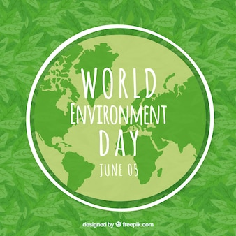 World environment day background with world map and leaves