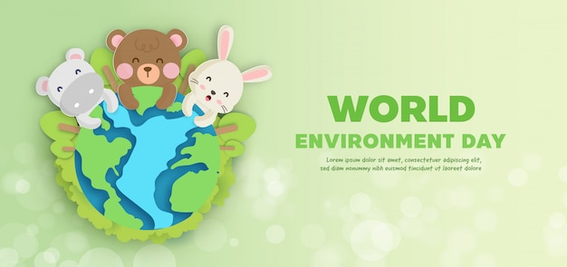 World environment day  banner with cute animals in paper cut style.