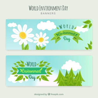 World environment day banner with daisies