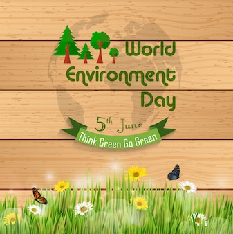 World environment day banner on wooden background