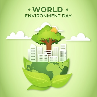 World environment day and city in paper style