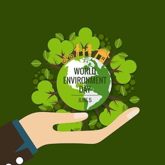 World environment day concept. Green Eco Earth. Vector illustration.