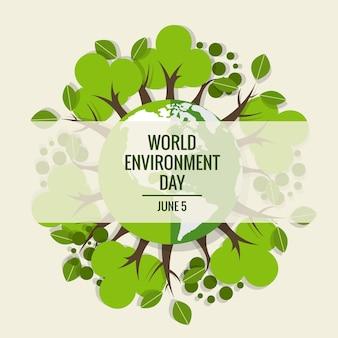 世界環境デーのコンセプト。グリーンエコアース。ベクトル図。