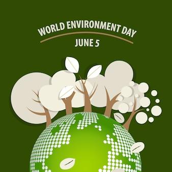 Concetto di giorno ambientale mondiale. verde eco terra. illustrazione vettoriale. Vettore gratuito