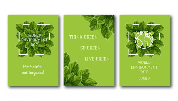 World environment day flyer set with green leaves.