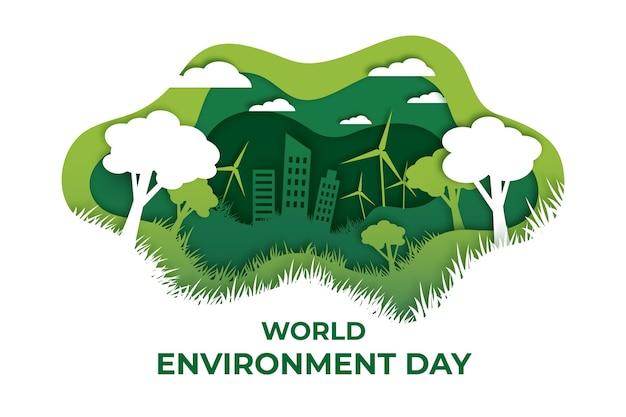 紙のスタイルで世界環境の日のイラスト