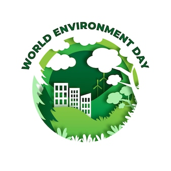 World environment day illustration in paper style