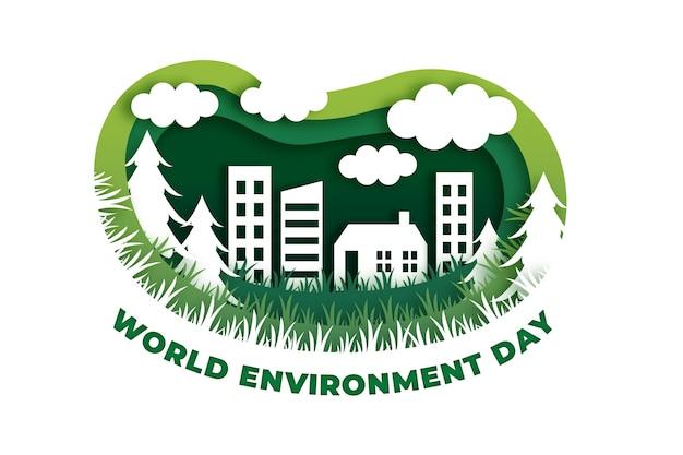 Illustrazione della giornata mondiale dell'ambiente in stile carta