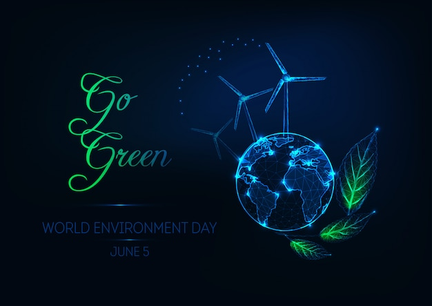 World environment day illustration with planet earth, wind turbines, green leaves and text go green