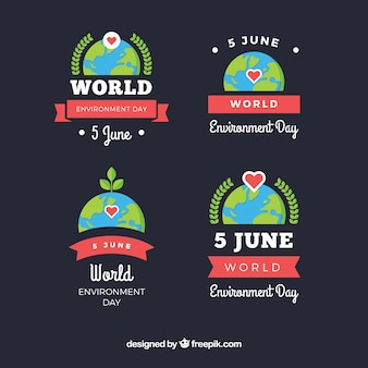 World environment day labels with red ribbons