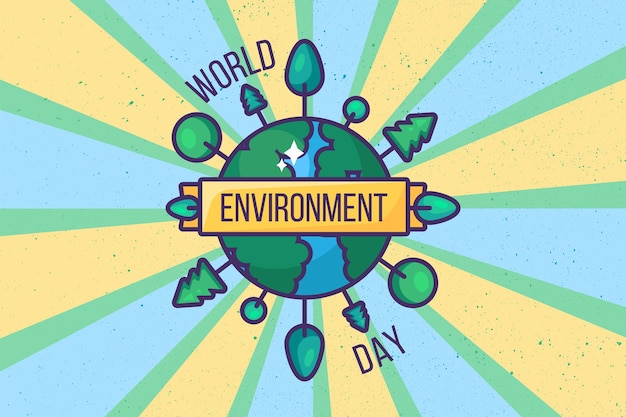 World environment day poster background or card design. retro style. ecology, green and environmental protection concept. save planet from pollution. template vector illustration