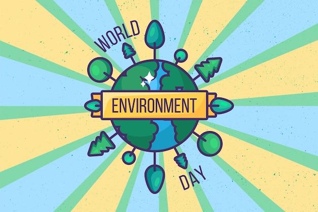 세계 환경의 날 포스터 배경 또는 카드 디자인입니다. 레트로 스타일입니다. 생태, 녹색 및 환경 보호 개념입니다. 오염으로부터 지구를 구하십시오. 템플릿 벡터 일러스트 레이 션