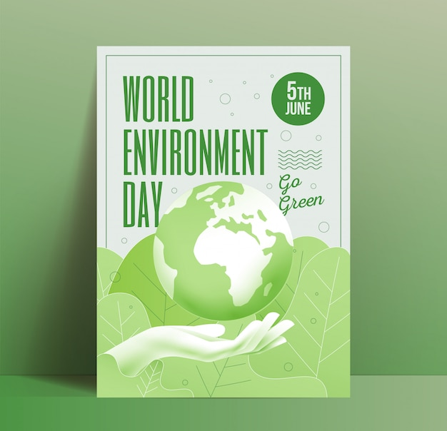 World environment day poster design template with earth globe above human hand on botanical green leaves background. go green eco flyer. illustration