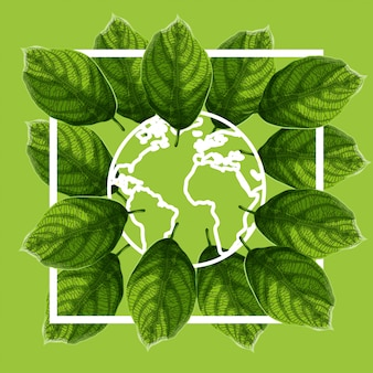 World environment day poster with green textured leaves and earth globe outline on green background.