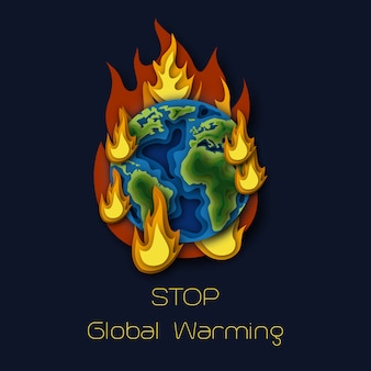 World environment day poster with planet earth globe burning in fire