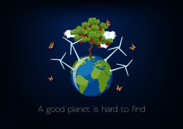 World environment day poster with planet