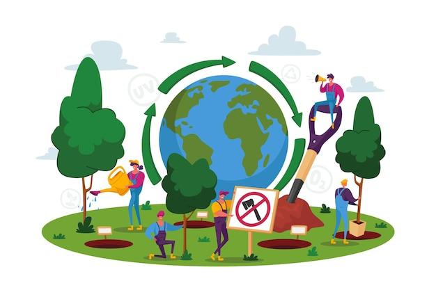 World environment day, reforestation Premium Vector