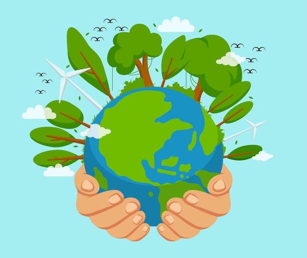Всемирный день окружающей среды векторные иллюстрации фона